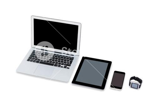 Laptop, digital tablet, mobile phone and smart watch