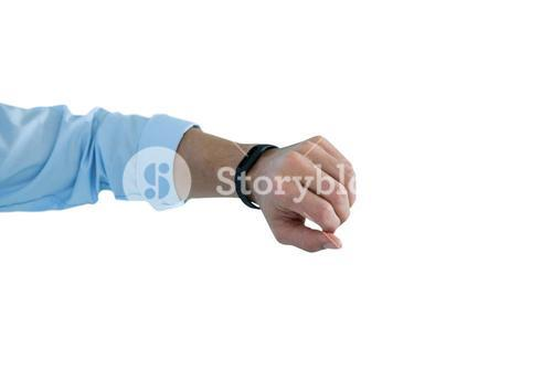 Man hand wearing fitness band