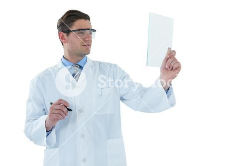 Doctor pretending to be using futuristic digital tablet