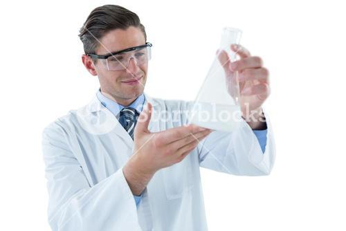 Scientist pretending to be doing experiment