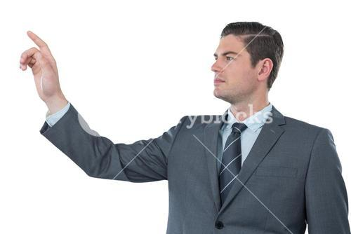Businessman using futuristic digital screen
