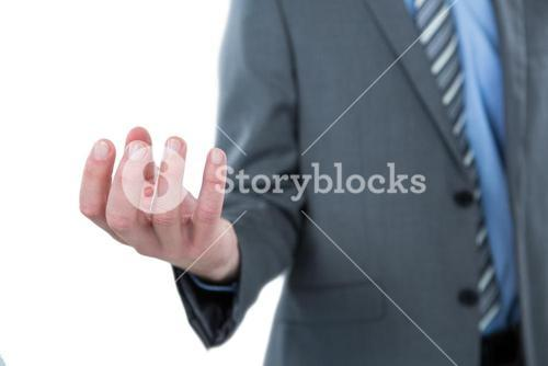 Businessman pretending to hold an object