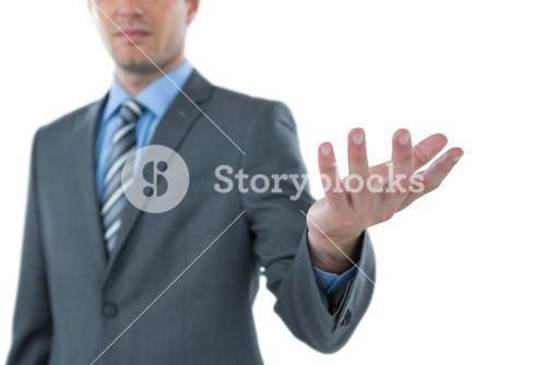 Close-up of businessman gesturing
