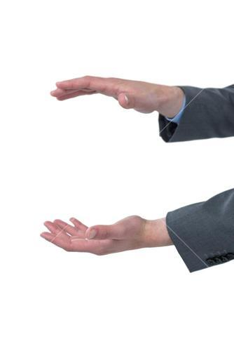 Close-up of business hands gesturing