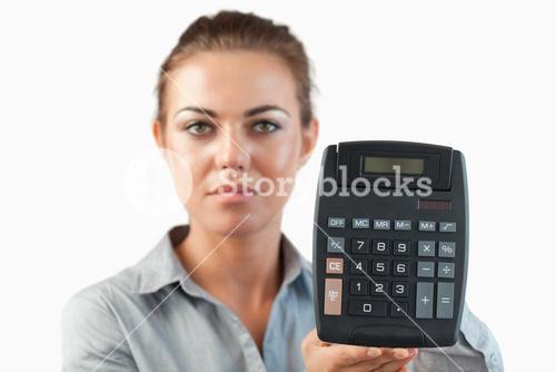 Female accountant presenting calculator