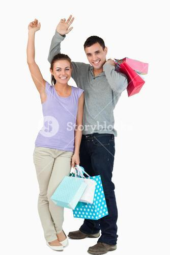 Happy young couple after shopping