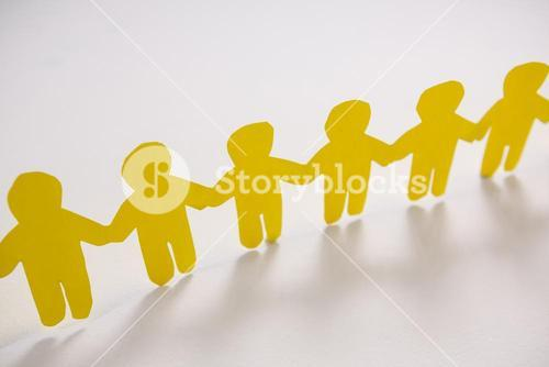 Row of yellow paper cut-out figures