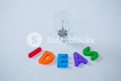 Letter ideas block and electric bulb
