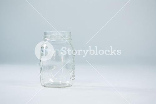Close-up of empty glass jar