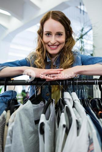 Woman doing shopping at clothes store