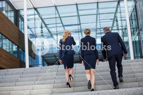 Businesspeople climbing up the steps