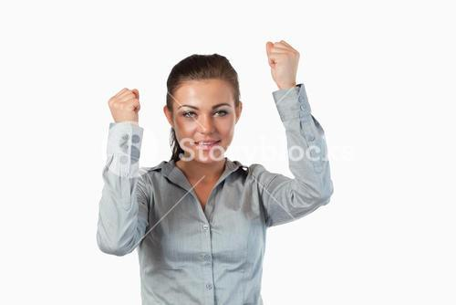 Businesswoman with the fists up