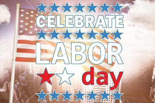 Composite image of celebrate labor day text and stars