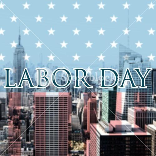 Composite image of labor day text