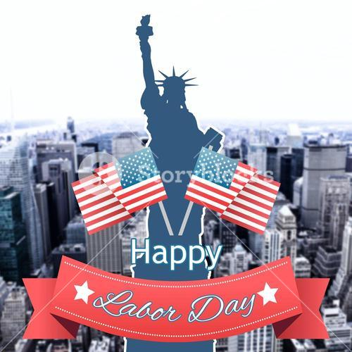 Composite image of happy labor day text badge with flags