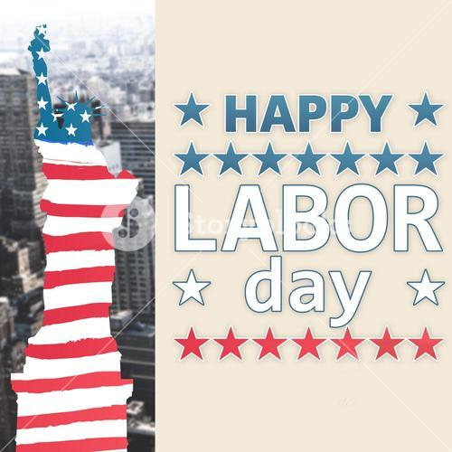 Composite image of poster of celebrate labor day text