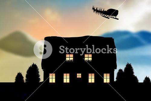 Composite image of reindeer pulling empty sleigh with gifts during christmas