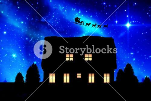Composite image of side view of santa claus riding on sleigh during christmas
