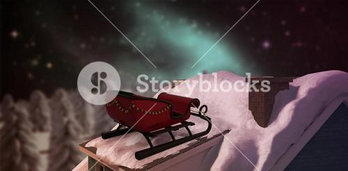 Composite image of christmas sledge with bells