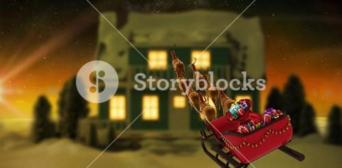 Composite image of high angle view of reindeer pulling red sleigh with gift box during christmas