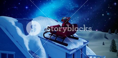 Composite image of christmas sledge with gift boxes