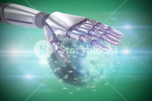 Composite image of silver metal robotic hand