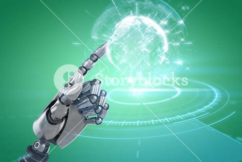 Composite image of robotic arm gesturing on white background