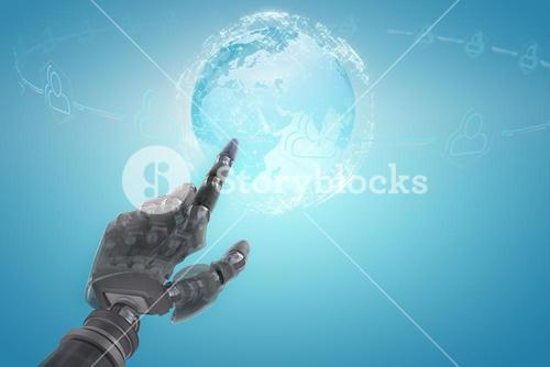 Composite image of back robot arm pointing at something