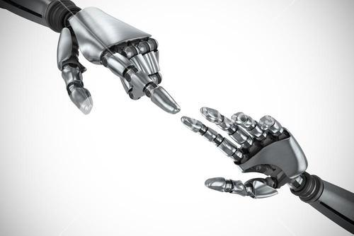 Composite image of silver robot arm pointing at something