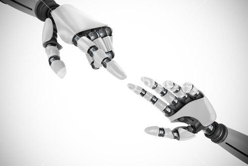 Composite image of white robot arm pointing at something