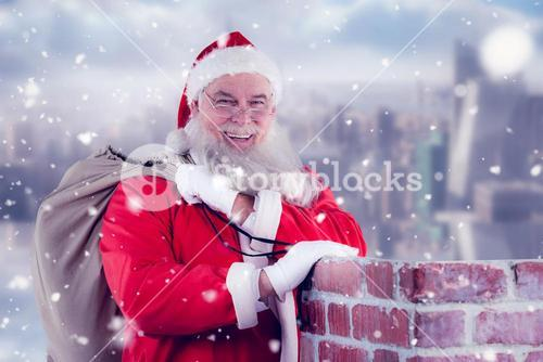 Composite image of portrait of santa claus with eyeglasses carrying bag full of gifts
