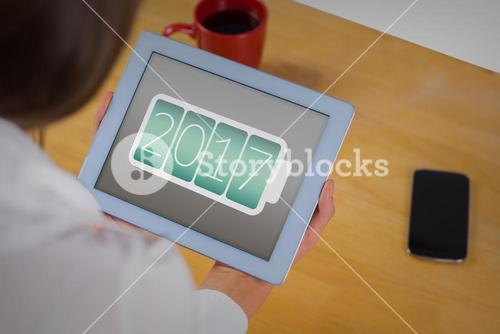 2017 message on tablet