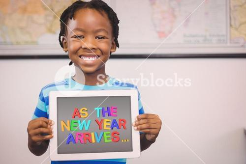 Composite image of new year greeting