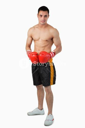 Young male boxer