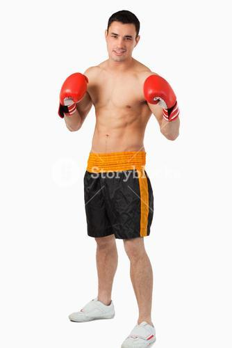 Young boxer fighting