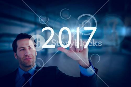Composite image of confident businessman pointing at something