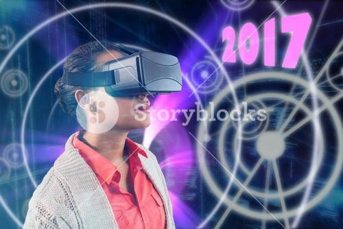 Composite image of close up of teacher holding virtual glasses