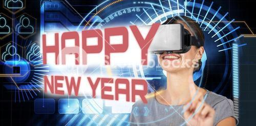 Composite image of happy young woman using virtual reality headset