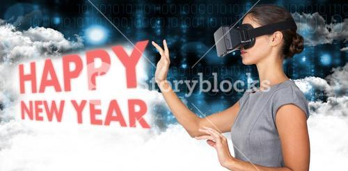 Composite image of side view of young woman gesturing while using virtual video glasses