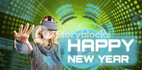 Composite image of cheerful woman using reality virtual headset