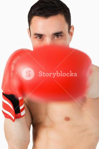 Boxer striking with his left