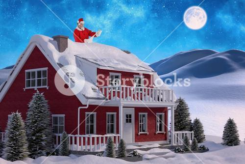 Composite image of santa claus smiling and reading scroll
