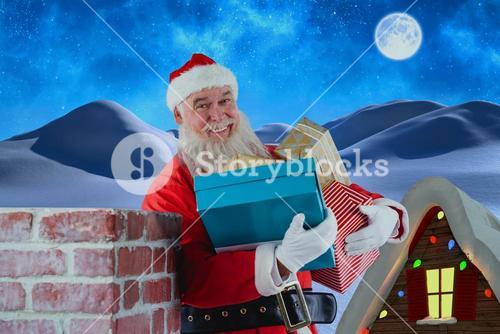 Composite image of portrait of santa claus carrying various gifts