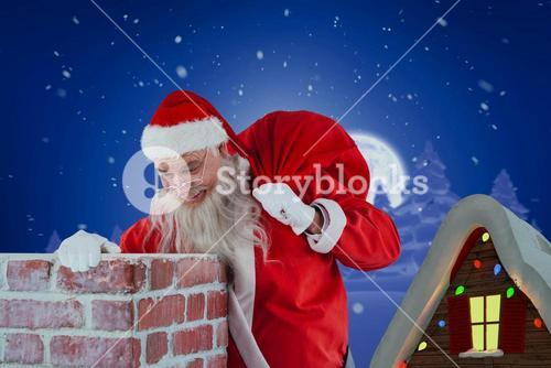 Composite image of santa claus carrying bag full of gifts looking in chimney