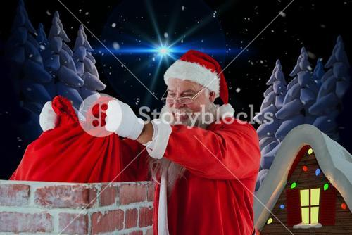Composite image of santa claus placing christmas bag into chimney