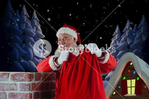 Composite image of santa claus holding gift sack into chimney