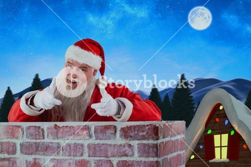 Composite image of portrait of happy santa claus making hand gesture over wall