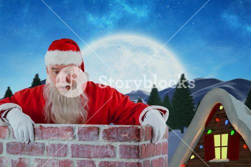 Composite image of santa claus peeking over wall