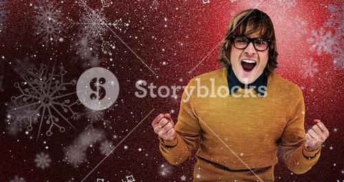 Composite image of portrait of hipster shouting