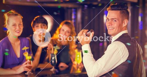 Composite image of portrait of waiter and beautiful women standing at bar counter